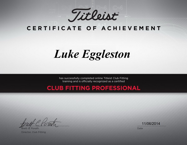 Titleist Fitting Certificate